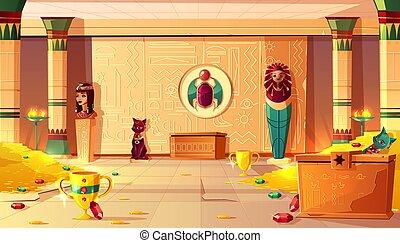 ピラミッド, エジプト人, -, 中, ベクトル, 内部, 墓, 宝物