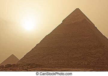 ピラミッド, エジプト, カイロ, 砂, 嵐, khafre
