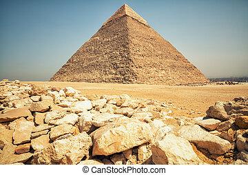 ピラミッド, エジプト, ギザ, 台なし, 砂漠, chephren