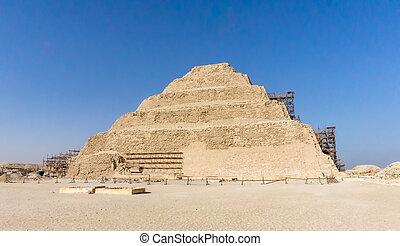 ピラミッド, エジプト, 考古学的, ステップ, djoser, saqqara, remain, necropolis...