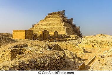 ピラミッド, エジプト, -, djoser, ステップ, saqqara, 光景