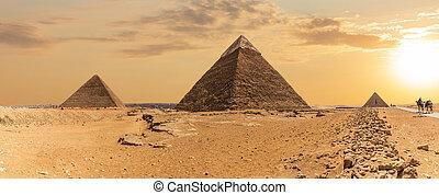 ピラミッド, ギザ, パノラマの光景, khafre, エジプト