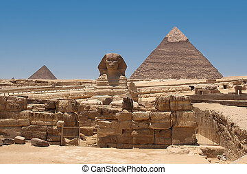 ピラミッド, ギザ, sphinx-, エジプト, khafre, 光景
