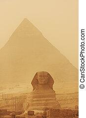 ピラミッド, スフィンクス, カイロ, 砂, 嵐, khafre