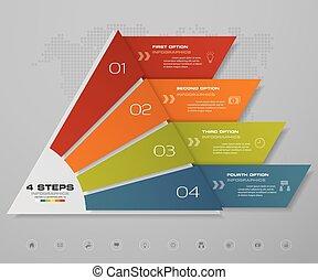 ピラミッド, スペース, テキスト, 無料で, ステップ, 4, level., それぞれ