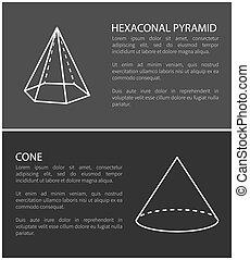 ピラミッド, セット, イラスト, ベクトル, コーン, 六角形