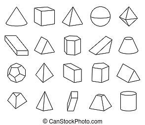 ピラミッド, セット, イラスト, 形, ベクトル, コーン