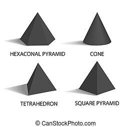 ピラミッド, セット, ポスター, イラスト, ベクトル, 六角形