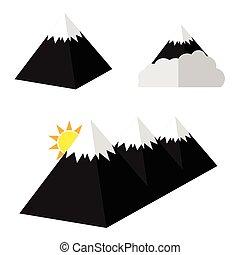 ピラミッド, セット, 漫画, イラスト