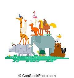 ピラミッド, セット, isolated., イラスト, 獣, ベクトル, 動物