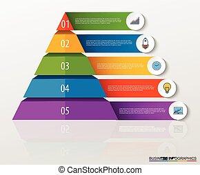 ピラミッド, ビジネス, icons., infographic, 数, multilevel