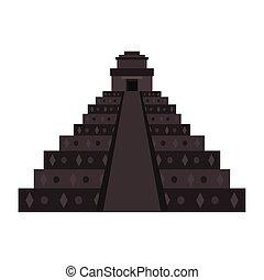 ピラミッド, メキシコ人, 隔離された, イラスト, ベクトル, 記念碑