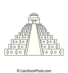 ピラミッド, メキシコ人, 隔離された, 黒, 記念碑, 白