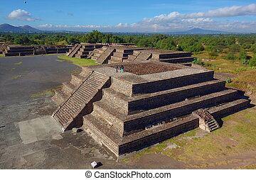 ピラミッド, メキシコ\, 太陽, -, 死んだ, teotihuacan, 道, 光景