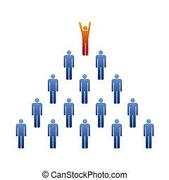 ピラミッド, 人々, リーダー, アイコン
