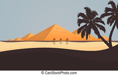 ピラミッド, 光景, 砂漠, エジプト人