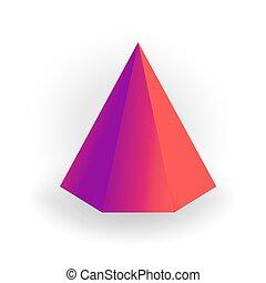 ピラミッド, 勾配, 白, -, 隔離された, 形, ベクトル, 背景, holographic, 六角形, 幾何学的, 3d