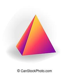 ピラミッド, 勾配, 白, -, 隔離された, 形, ベクトル, 背景, holographic, 幾何学的, 3d