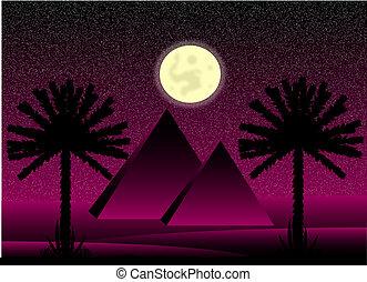 ピラミッド, 夜, サハラ砂漠, エジプト人