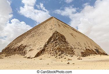 ピラミッド, 曲がった, エジプト, カイロ, dahshur, necropolis