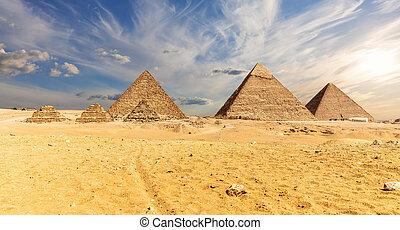 ピラミッド, 有名, エジプト, ギザ, 光景, 砂漠