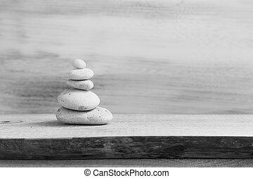 ピラミッド, 禅, 石, 木製のボード