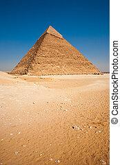 ピラミッド, 縦, khafre, ギザ, 砂漠, 空