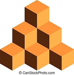 ピラミッド, 金, 隔離された, イラスト, ベクトル, 背景, cubes., 白, 3d