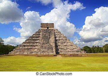 ピラミッド, kukulcan, mayan, itza, 古代, chichen