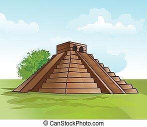 ピラミッド, mayan, イラスト