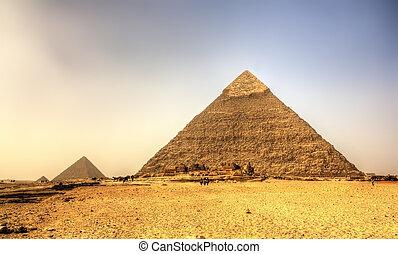 ピラミッド, (pyramid, エジプト, -, ギザ, chephren), khafre