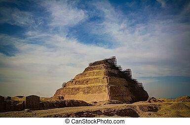 ピラミッド, zoser, saqqara, エジプト, ステップ, 外の光景