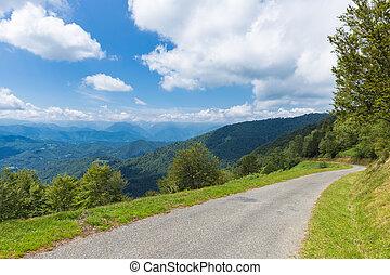 ピレネー山脈, d188, 道, 巻き取り