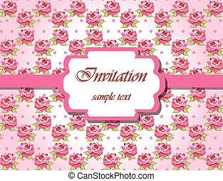 ピンクのバラ, カード, 招待