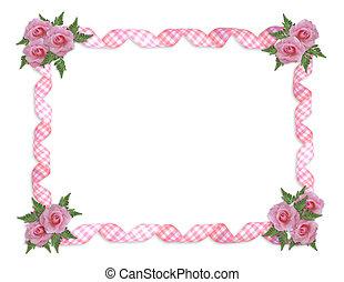 ピンクのバラ, ギンガム, リボン, ボーダー