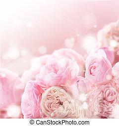 ピンクのバラ, 束