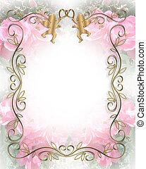ピンクのバラ, 結婚式, 柔らかい, 招待