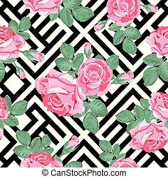 ピンクのバラ, 葉, pattern., seamless, イラスト, バックグラウンド。, ベクトル, 黒, 花, 白, 幾何学的