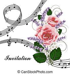 ピンクのバラ, 音楽, ノート。