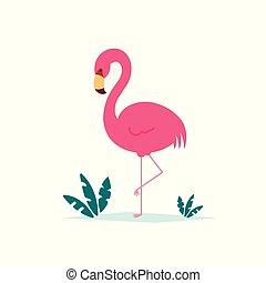 ピンクのフラミンゴ, 葉, 隔離された, イラスト, トロピカル, ベクトル, 背景, 白