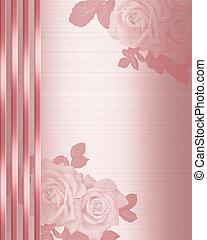 ピンクの朱子織, 結婚式, ボーダー, 招待