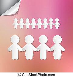 ピンクの背景, 人々, ペーパー, 手を持つ