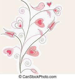 ピンクの背景, 木, hea, バレンタイン
