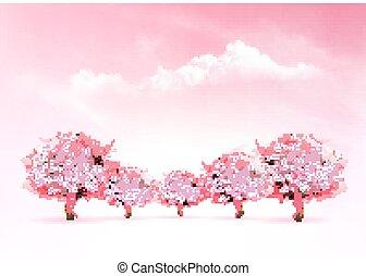 ピンクの背景, 自然, 春, 木。, sakura, vector., 咲く