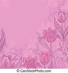 ピンクの背景, 花, チューリップ