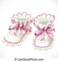 ピンクの背景, 隔離された, 毛糸編み幼児靴, 赤ん坊, 白