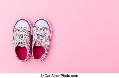 ピンクの花, スペース, バックグラウンド。, スニーカー, 子供, コピー