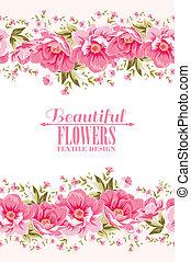 ピンクの花, テキスト, 装飾, label., 華やか