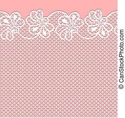 ピンクの花, ボーダー, レース, 背景