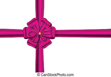 ピンクの花, リボン, 弓